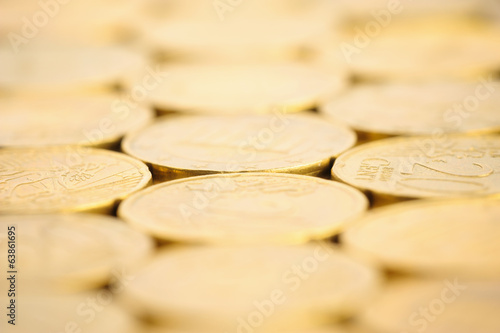 Euro coins background, macro shot