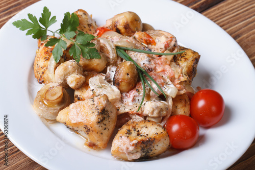 pieces of chicken meat with mushroom sauce on a white plate