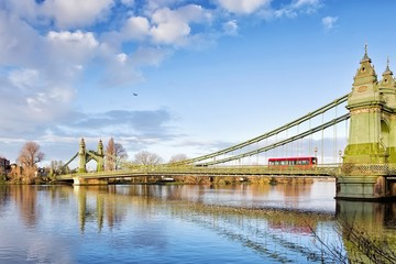 Hammersmith Bridge and south riverside of Thames