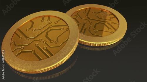 The digital currency gold coins