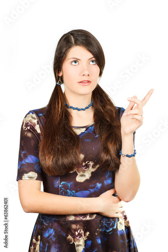a girl decides a problem. gesture of meditation