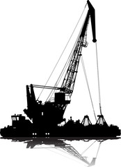 Vector silhouette of floating port crane