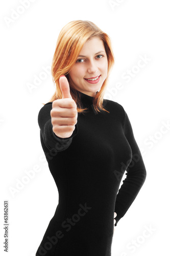 beautiful woman showing thumb isolated on white background