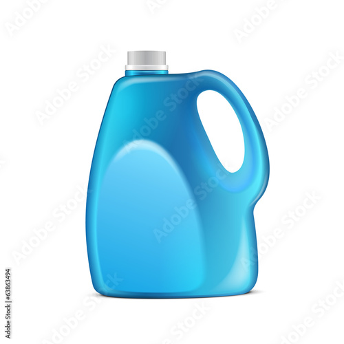 Blue Plastic Jerrycan On White Background Isolated