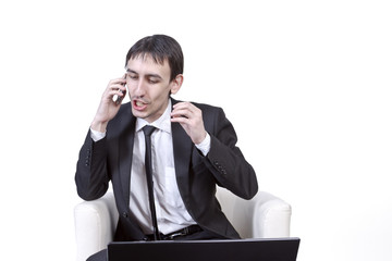 Businessman persistently convinces the client by phone