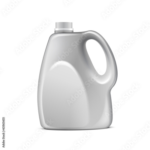 Gray Plastic Jerrycan On White Background Isolated