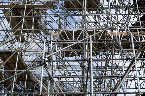 Metal scaffold on construction site