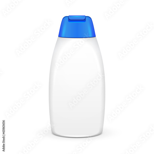 White Shampoo Plastic Bottle On White Background