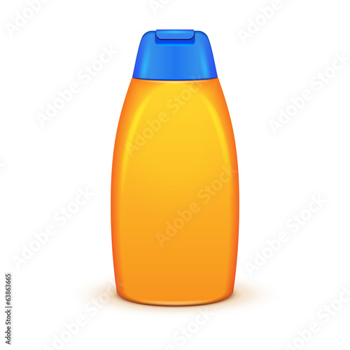 Yellow Shampoo Plastic Bottle On White Background