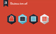 Corporate business flat icons set