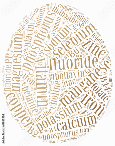 Word cloud diet or nutrition related, including minerals