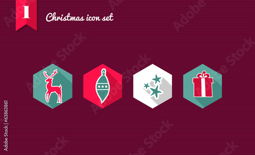Merry Christmas flat icons set