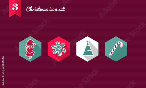 Merry Xmas flat icons set