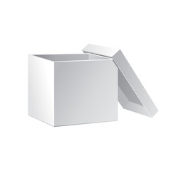 Open White Cardboard Carton Gift Box With Lid