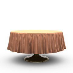 Round table with table cloth, 3d illustration