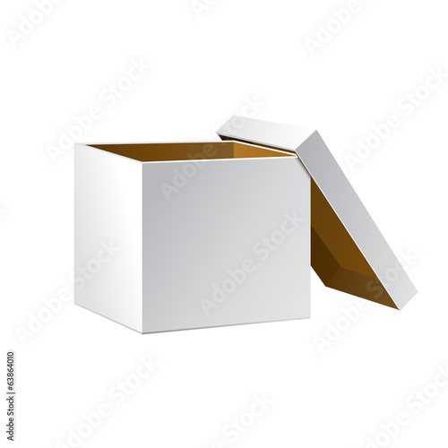 Open White Cardboard Carton Gift Box, Brown Inside
