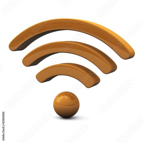Orange wifi icon, 3d