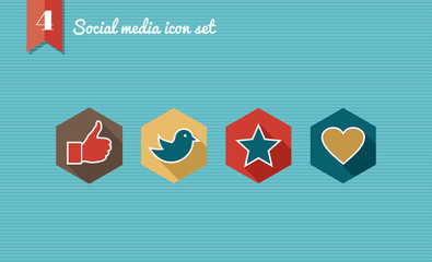 Social media flat icons set collection