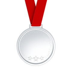 Blank silver medal with red ribbon, 3d