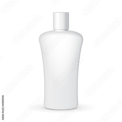Shampoo Plastic Bottle On White Background Isolated