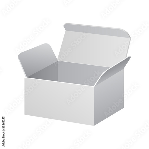 White Product Cardboard, Carton Package Box Open