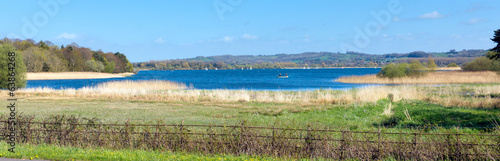 Panoramic Chew Valley Lake and reservoir Somerset England uk