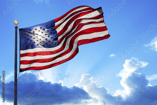 American flag waving in the wind - 63864632