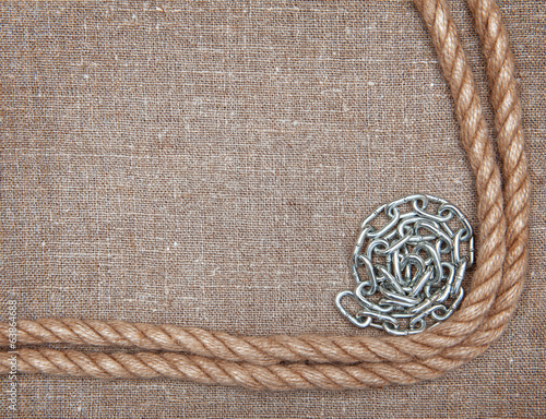Metal chain, rope on the burlap