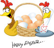 happy easter - hen in love hold basket with eggs