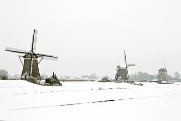 Traditional windmills in the countryside from the Netherlands in