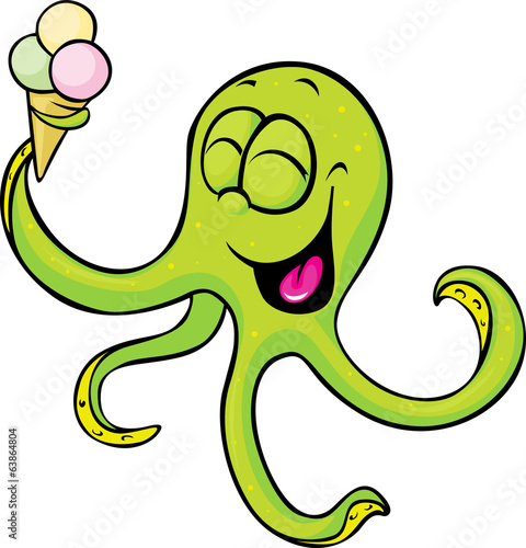 funny octopus with ice cream isolated on white background