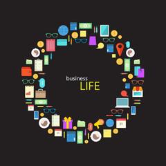 Business life stylized Image. Set of flat icons.