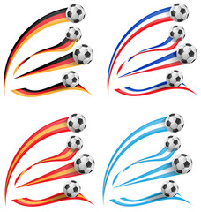 germany, greece, france, spain flag set with soccer ball