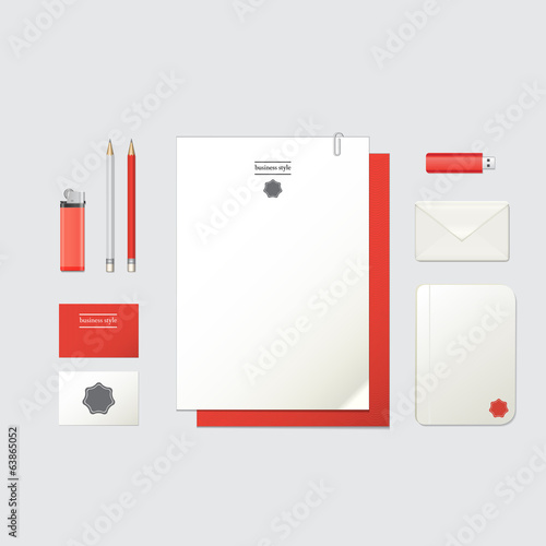 corporate identity template. Red and white colors.