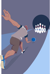 Man striking his goals in a bowling alleys