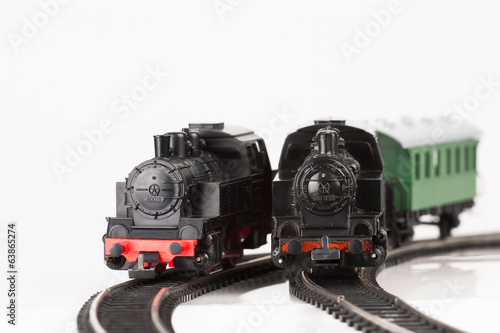 two toy locomotive