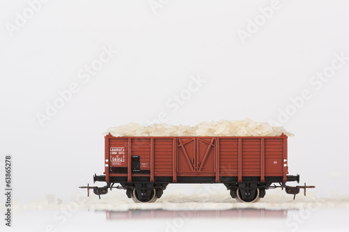 toy rail car with rice