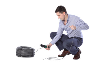 man isolated on white background crimps internet cable