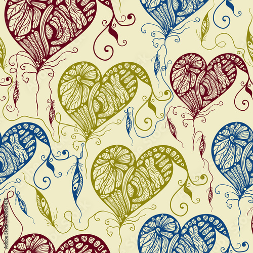 Vector Seamless Pattern with Funky Bright Hearts and Feathers