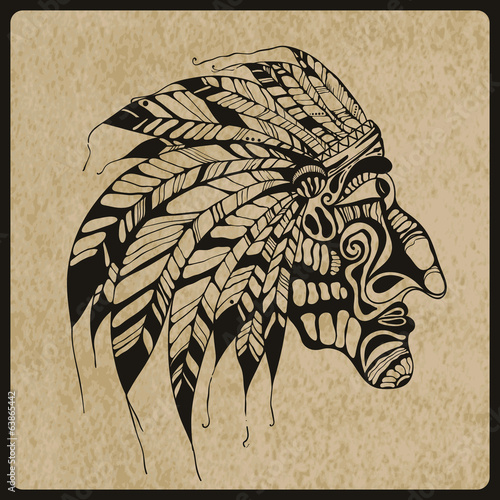 Vector Tattoo, Native American Indian chief