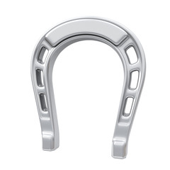 Silver horseshoe, symbol of luck and fortune, 3d