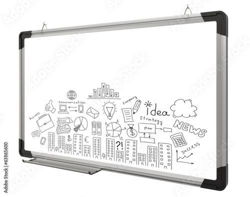 White magnetic board and business sketches