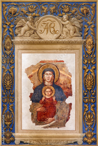 Bologna - Fresco of Madonna in Saint Dominic church