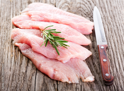 raw chicken breast fillets with rosemary