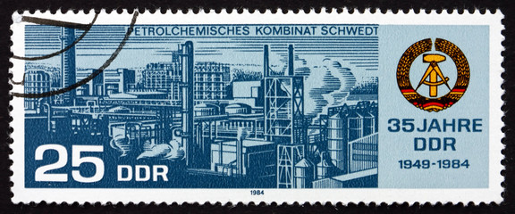 Postage stamp GDR 1984 Petro-chemical Collective Combine Schwedt