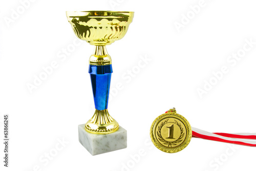 Gold trophy and medal, white background, horizontal