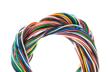 muti-color electronic wire isolated on white background