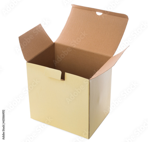 Yellow open cardboard box on a white background