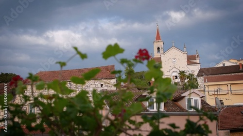 Panoramic view of the small Mediterranean town with a church