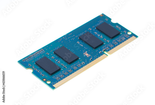 Blue laptop RAM isolated on white background